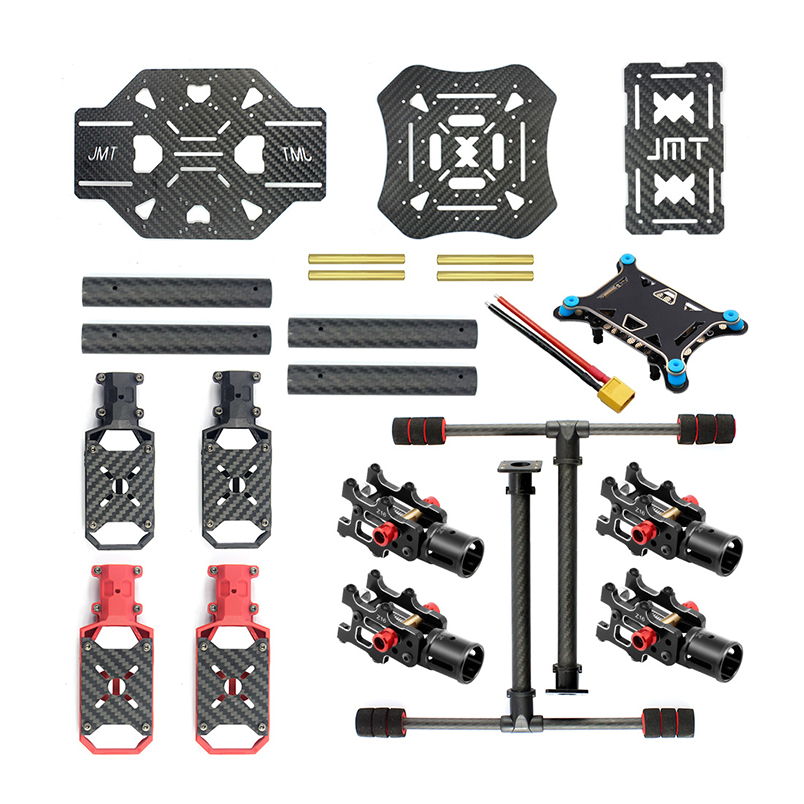 JMT X4 460mm Carbon Fiber Folding Frame with Foldable / Non foldable Landing Skid for RC Racer Quadcopter Airplanes
