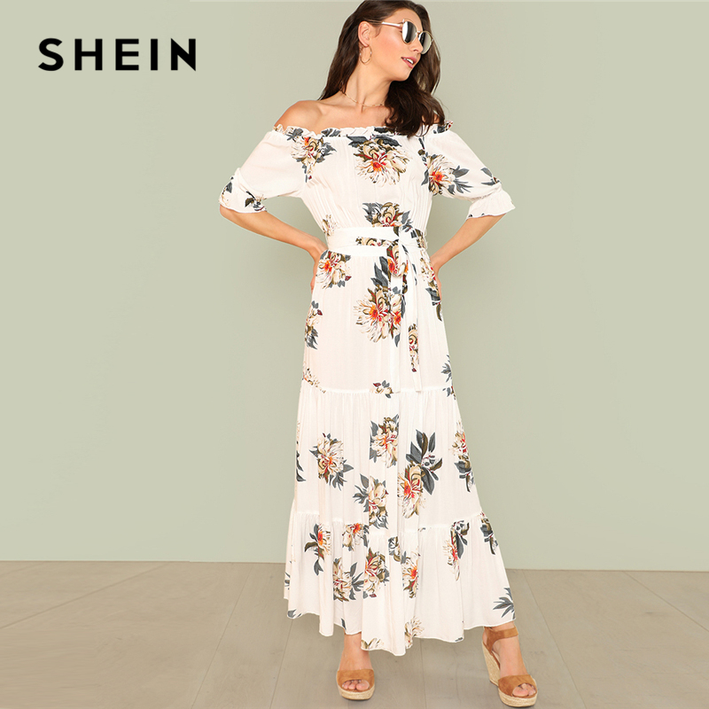 7df3ccdd74d48 SHEIN Off Shoulder Fit And Flare Maxi Dress Summer Off the Shoulder Flounce  Sleeve Flower Print Long Dress Woman Vacation Dress-in Dresses from Women's  ...