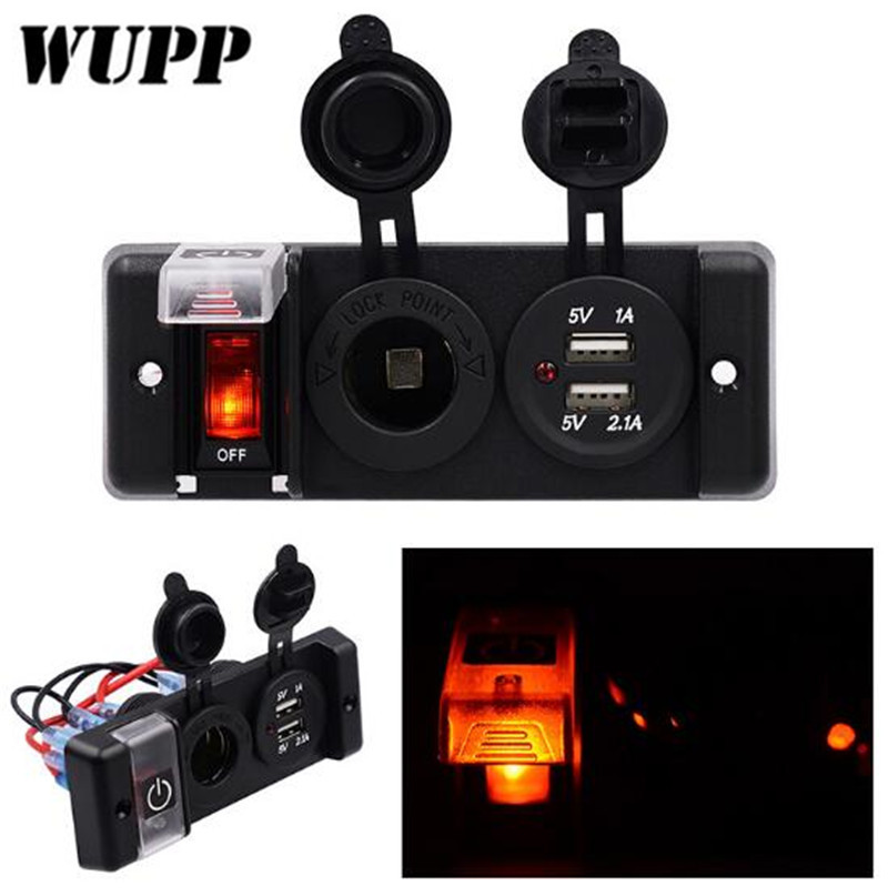 WUPP 12V Switch Panel Dual 5V 1A 2.1A USB Outlet Car Charger Cigarette Lighter Socket Red LED Indicator Switch Panel Waterproof