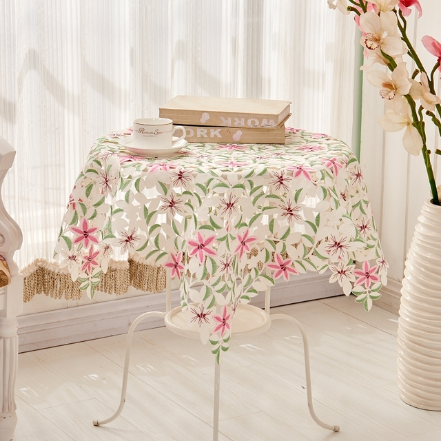 High Quality [WIT]85x85cm European Style Polyester Square Tablecloth Embroidered Floral  Tablecloth For Wedding Home Table