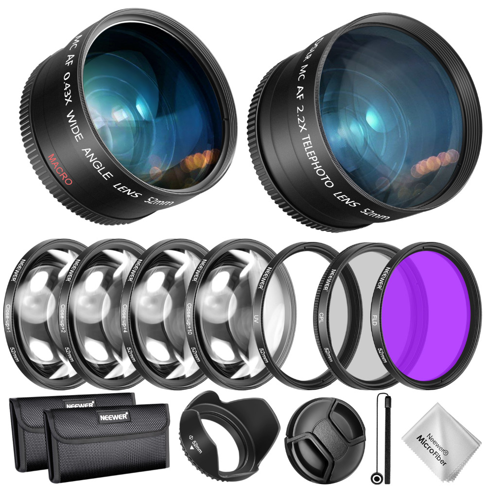 Neewer 52/55/58mm Lens and Filter Accessory Kit for Nikon AF-P DX 18-55mm:0.43X Wide Angle Lens,2.2XTelephoto Lenses,UV/CPL/FLD