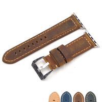 Brown Leather Classical Genuine Crazy Horse Watch Band for Apple Watch I Watch1 2 38mm&42mm Black Adaptor strap for apple watch