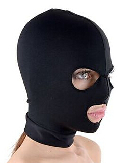 Spandex Hood with Mouth and Eye Opening Breathable Black Fetish Fantasy Mask цена