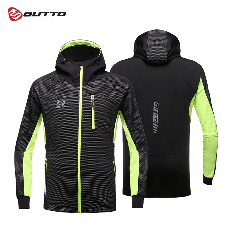 Outto Men's Windproof Cycling Jacket with Hood Full Zipper Waterproof Windbreaker Long Sleeve Winter Thermal Outdoor Sports Coat