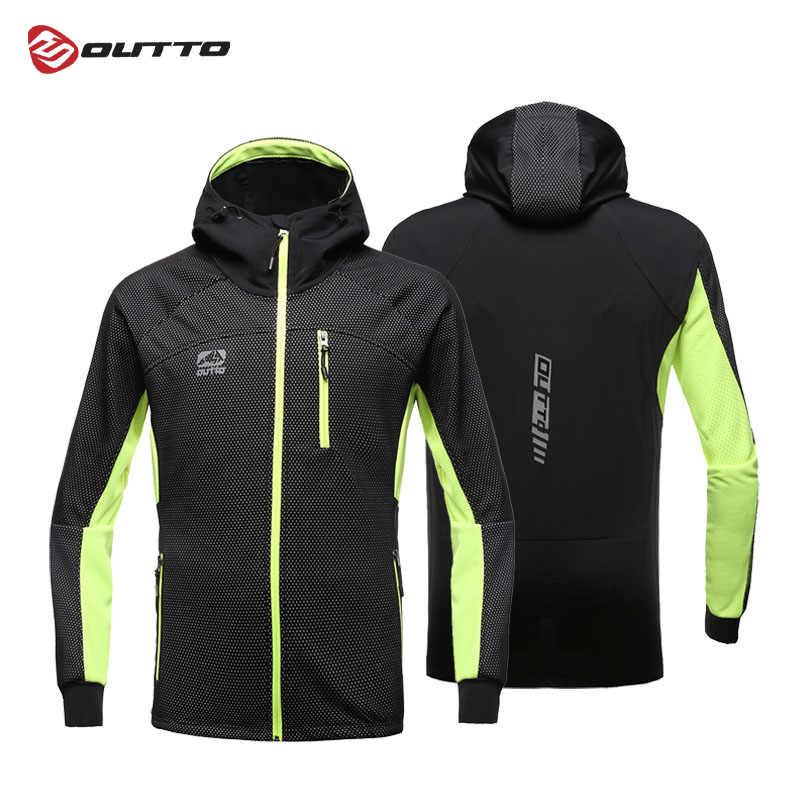 Outto Мужская ветрозащитная велосипедная куртка с капюшоном на молнии Водонепроницаемая ветровка с длинным рукавом Зимняя Теплая Верхняя спортивная куртка
