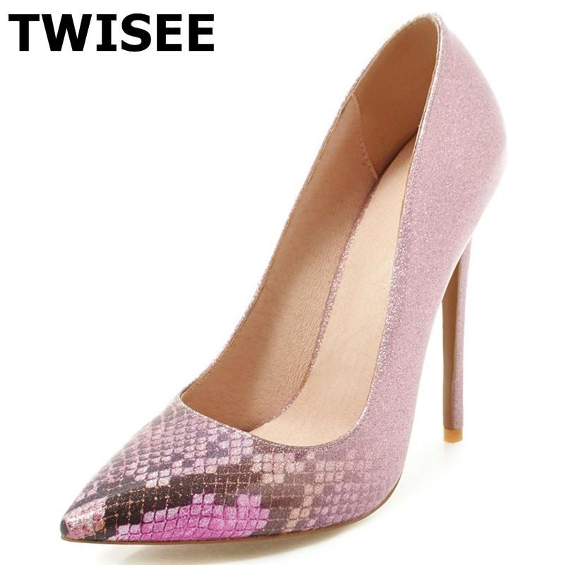 TWISEE New Shallow Pointed Toe Office Shoes Women's Fashion Solid Flock Shallow High Heels 12cm Shoes for Women sexy pumps fashion new spring summer med high heels good quality pointed toe women lady flock leather solid simple sexy casual pumps shoes