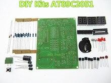 Kits DIY AT89C2051 Relógio Eletrônico Tubo Digital Módulo de Display LED Eletrônico Suíte de Partes e Componentes DC 9 V-12 V
