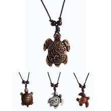 New Fashion Black Rope skull White Brown Cute tortoise turtle Necklace Pendant For Women Men simulated-bone Jewelry