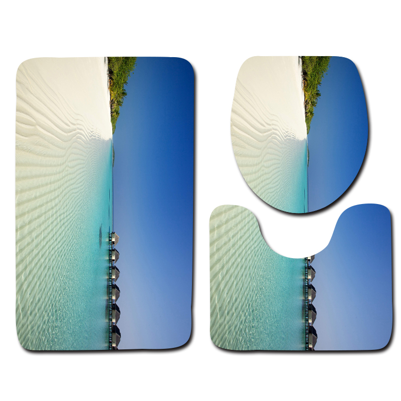 3pcs Print Bath Mats Blue Seascape Decorative Pattern Anti Slip Toilet Mats Modern Bathroom Floor Mats
