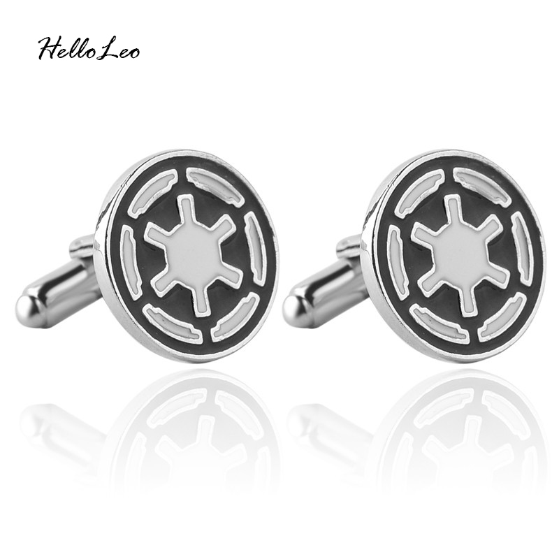 Star Wars Galactic Empire Cufflinks For Men's Fashion Jewelry Round Model Silver Black Color Cuff Links 2016 Hot Christmas Gift image