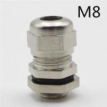 1 шт. M8* 1,25 никелевая латунь металл силикагель Водонепроницаемые кабельные сальники разъемы применяются к кабелю 2-4 мм