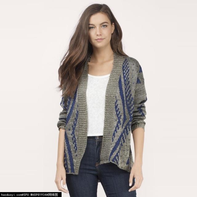 Patrón de suéter de las mujeres de Moda salvaje cinturón de ocio camisa de punto cardigan Señora suéter