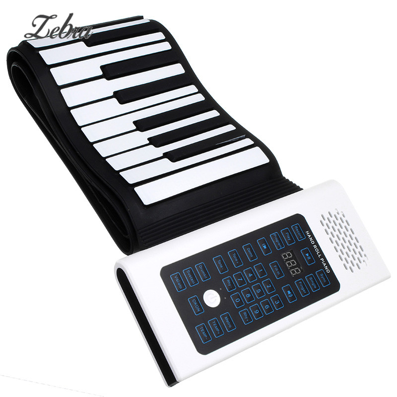 Zebra 88 Keys Roll Up Piano Rechargeable Keyboard With Microphone Speaker Musical Instrument Acessorios Musicais