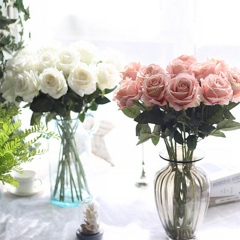 5pcs/lot Fancy artificial Rose flower Bouquet Fake roses Flannel Bridal Bouquets wedding party home decor floral bush drop ship fake rose flowers