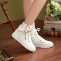 2017 new Autumn Women's High Canvas Shoes Sport Rivet shoes Message Girls sweet ankle boots heels Shoes