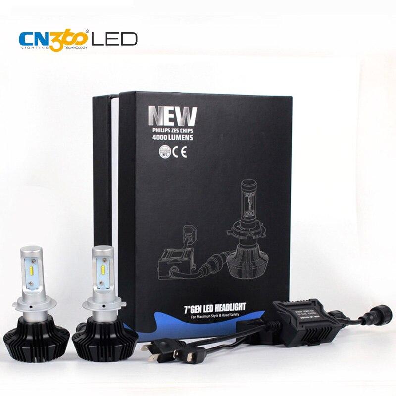 CN360 2 pièces H7 Led voiture phares ampoules 6500 K 12 V ajuster Angle de faisceau Mini taille deux Type Installation facile