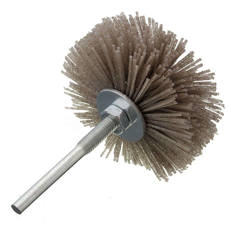 6mm Shank 80mm Dia Abrasive Nylon Wheel Brush Woodwork Polish Bench Grinder