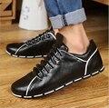 New Collection 2016 Vogue Pu Soft Leather Men Casual Shoes Vintage Pleated Flat Zapatillas Deportivas Hombre Jogging Shoes