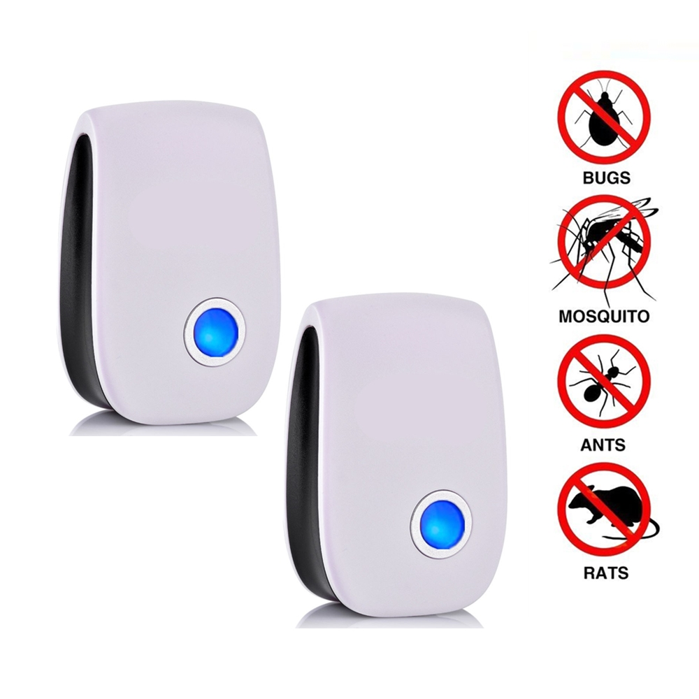 2pcs Blue Light Ultrasonic Pest Repeller Mosquito Repellent Electronic Rejector Anti Pests Device Indoors Use Dropshipping