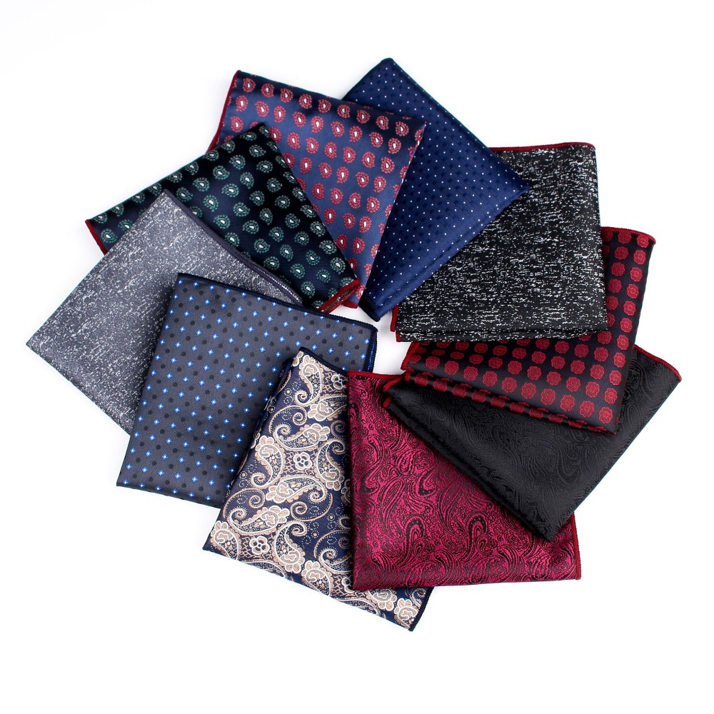 AWAYTR Men's Striped Dot Handkerchief For Men New Cravat Hankerchief Hankies Men Pocket Towel Print Wedding Accessories 25*25cm