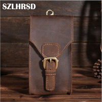 Men Genuine Leather Mobile Phone Cover Case Pocket Hip Belt Pack Waist Bag Father Gift Ulefone Armor X2/Elephone A3/Oukitel C10