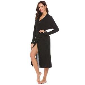 Image 3 - Ekouaer женский халат с длинным рукавом Однотонная задняя двухслойная Пижама банный халат с поясом до середины икры шаль воротник вечернее платье