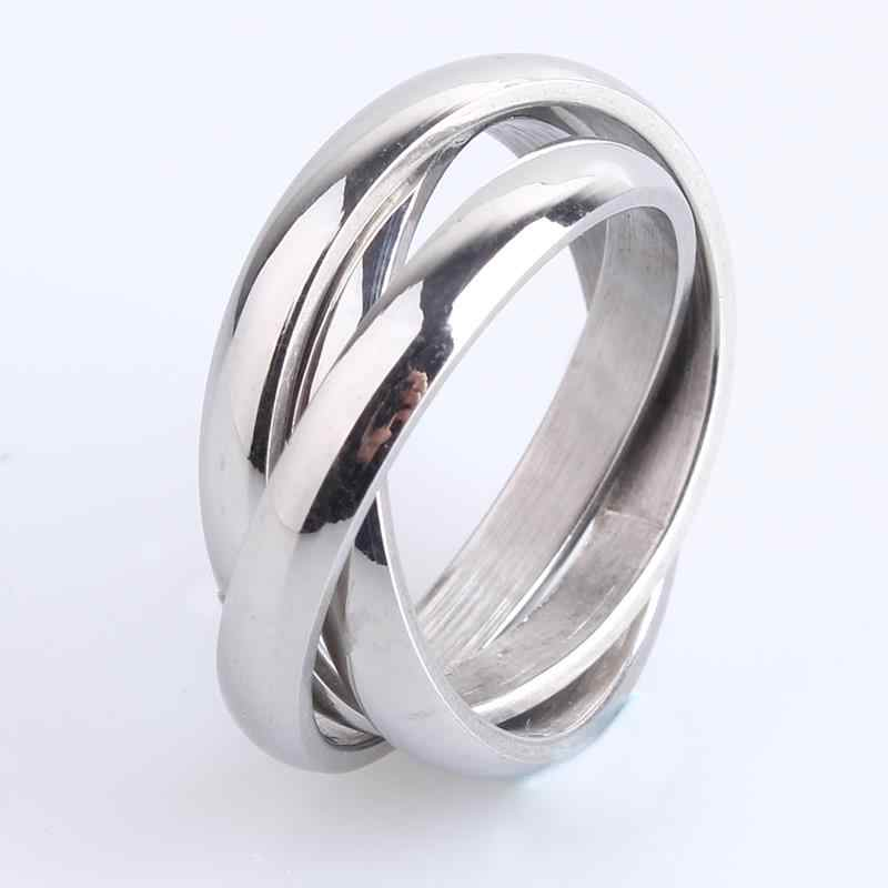 free shipping 3mm Three circle silver 316L Stainless Steel finger rings for men women wholesale