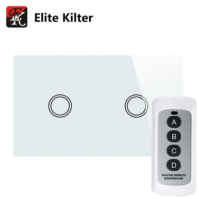 Elite Kilter Touch Switch US Standard Luxury Crystal Glass 2 Gang 1 Way New Big Remote Controller