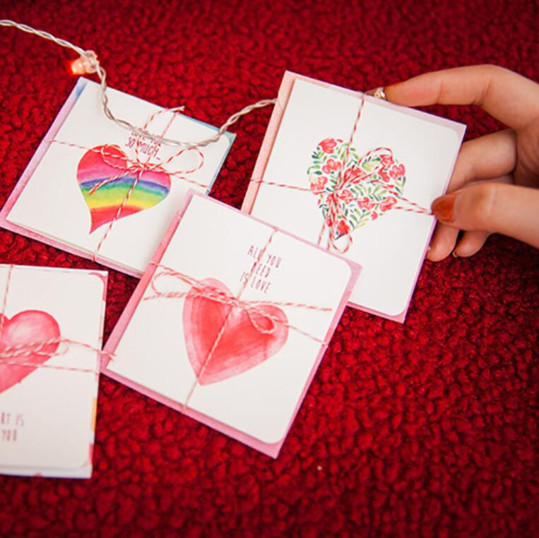 Diy Romantic Christmas Gifts: 2packs/lot Sweet Romantic Mini Greeting Card Set+envelope