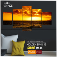 Frame Boat Modular Picture Seascape Sunset 5 Pieces Canvas Art Prints Framework Painting Sea Oil Painting