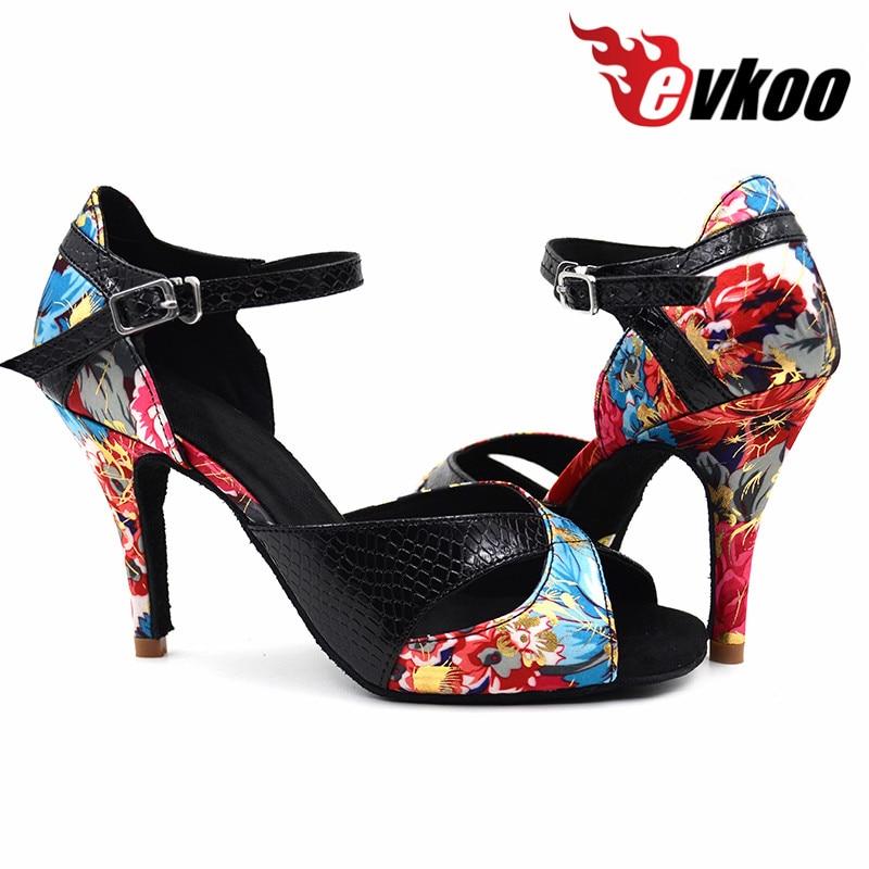 Evkoodance Lady Salsa këpucë me vallëzim latin vajza 8,5 cm të rehatshme Lëkurë të këpucëve Satin Lëkurë këpucë me sallone latine për valle Evkoo-373