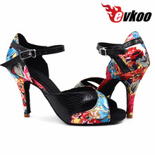 Evkoodance Lady Salsa latin dance shoes girls 8.5cm comfortable Satin Leather women latin ballroom shoes for dance Evkoo-373