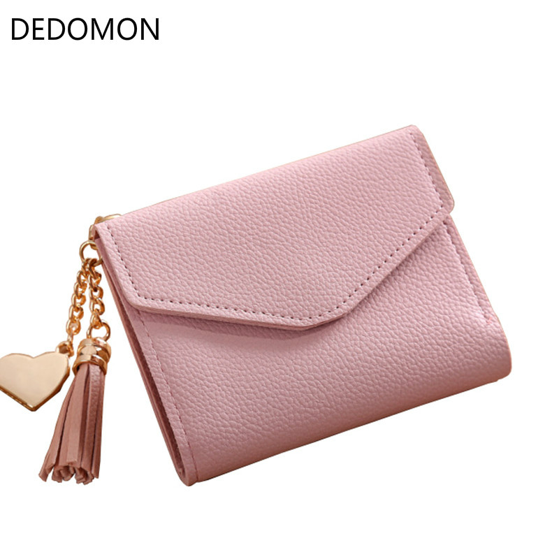 2018 Fashion Women Girl Mini Tassel Short Wallet Coin Purse Credit Card Holder Organizer Pocket Classic Solid New 2 Fold Type