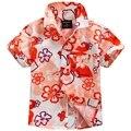 2016 novo chegada de algodão 100% camisa floral camisa havaiana aloha shirt para o menino T1536