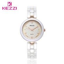 Kezzi marca relojes de cerámica mujeres reloj pulsera display analógico de cuarzo movimiento impermeable reloj de pulsera de las señoras regalo montre femme