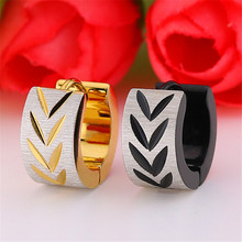 New Punk Gold Black Color Flowers Stud Earring For Women Men Stainless Steel Creative Round Ear Clip Fashion Jewelry