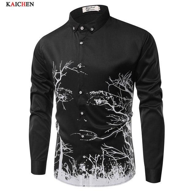 High quality men's clothing Plus size M-XXXL black and white shirt men long-sleeve Tree vine slim shirt casual floral men shirts