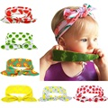 Pineapple bow headwrap Top knot headband Child turban Baby fashion pineapple bows Fruit headwrap Grils top knots 1pc HB099