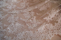 1 yard bead embroidered wedding dress fabric, bridal cord lace fabric, super gorgeous lace fabric, DZF005