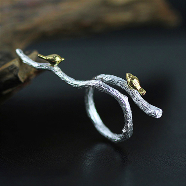 Genuine 925 Sterling Silver Rings Unique Original Design Bird On Branch Ring For Women Handmade Ethnic Jewelry