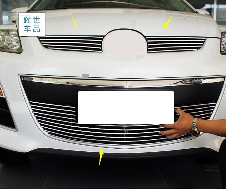 case For Mazda CX-7 2014 2015 Aluminum Front Under Center Grill Grille Cover Trim Car Styling Automobile Accessories for mazda 3 axela 2014 2015 2016 abs chrome front grille trim center grill cover around trim car styling accessories 11 pcs set