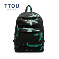 TTOU Hippie Canvas Backpacks Student School Bag Graffiti Backpack For Teenage Girls Fashion Travel Bags Maple