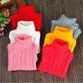 Meninos bebé del muchacho del suéter de cuello alto 2015 niños del invierno niñas ropa para adolescentes ropa blanco negro rosa rojo tamaño 12