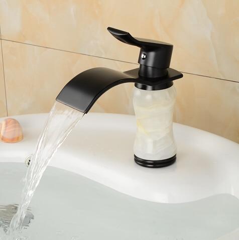 Antique Black jade waterfall bathroom faucet basin sink tap antique brass black waterfall faucet mixer tap Vintage water faucet antique brass centerest bathroom sink faucet waterfall basin mixer tap
