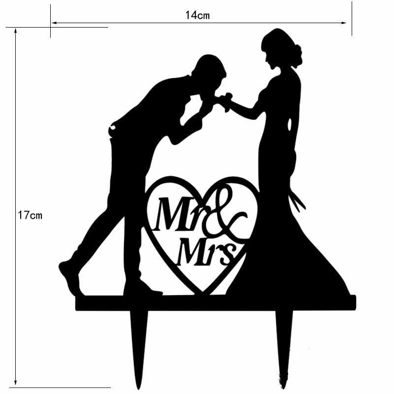 New Black Acrylic Wedding Cake Topper For Decor Mariage Mr Mrs Bride Groom Family Cake Toppers Bridal Shower Decoration