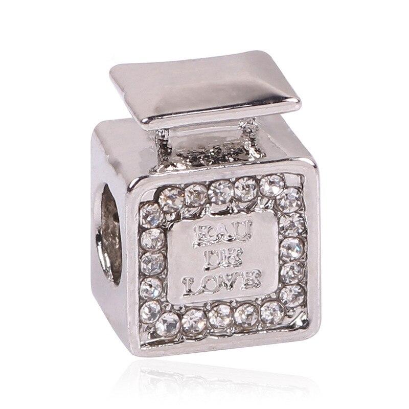 2018 Beautiful 1Pc New European Perfume Bottle Charm Fashion Style Beads Alloy Beads Fit Pandora Bracelets Bangles Gift