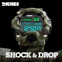 2017 skmei s choque reloj de los hombres de camuflaje del ejército al aire libre militar reloj relojes digitales led display moda masculino deporte relojes para hombre
