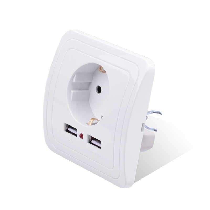 Smart Home, Casa Intelligente Best Doppia Porta USB Adattatore del Caricatore Della Parete 2400mA 16A Standard UE Elettrica Presa di corrente Presa di Corrente Pannello 110 ~ 250 v