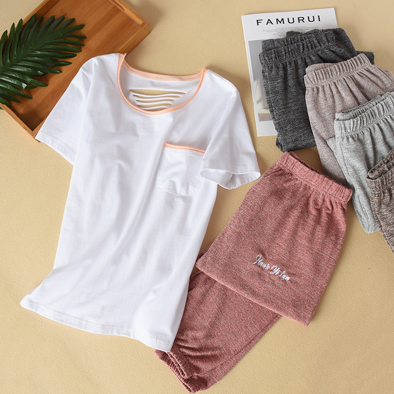 Summer Pajamas For Women White T-shirt + Multi-color Loose Stretch Foot Pants Sleepwear Cotton Loungewear Pijama Home Clothes