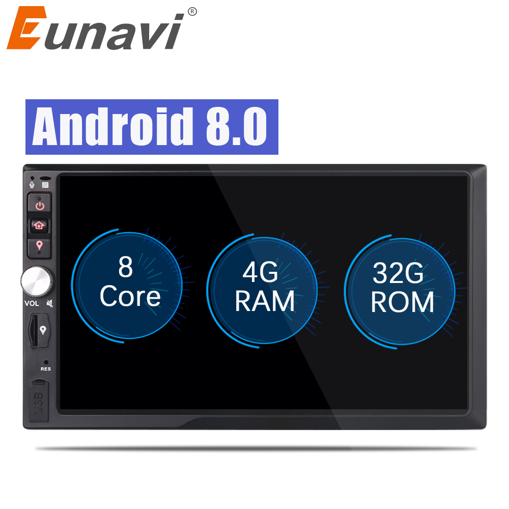 Eunavi 2 Din 7'' Octa core Universal Android 8.0 4G RAM Car Radio Stereo GPS Navigation WiFi 1024*600 Touch Screen 2din Car PC kanor octa core android 7 1 2 32g 1024 600 2din car radio for nissan juke 2004 2012 in dash 2 din car gps navigation wifi usb